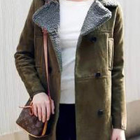 Olive Green Long Sleeve Coat
