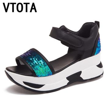 VTOTA Platform Sandals Summer Shoes Woman Soft Leather Casual Open Toe Gladiator Shoe