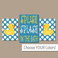 Duck BATHROOM Wall Art, CANVAS or Prints Rubber Ducky, Navy Blue Yellow Bathroom, Splish Splash in the Bath, Duckies Bathroom, Set of 3