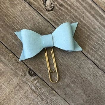 Light Blue Bow Planner Clip Faux Leather