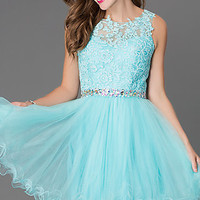 Short Homecoming Dress 9159 with Lace Top