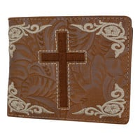 Men's Western Tan Cowboy Cross Design Credit Card ID Holder Bifold Wallet W059-L-BR (C)