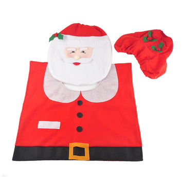 Santa Claus Toilet Seat Cover Case and Rug Set Toilet Clothes Bathroom Christmas Decoration Bath Mat Holder Closestool Lid Cover