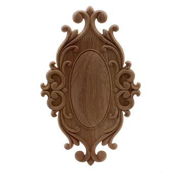VZLX Home Wedding Decoration Accessories Furniture Appliques Wood Carving Corner Wooden Decor Frame Wall Door Woodcarving Decal