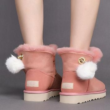 UGG Woman Fur Leather Shoes Boots Winter Short Boots Shoes