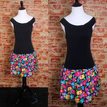 Vintage 1990s Black Tank spandex off the shoulder drop waist tiered ruffle bright FLORAL Mini Party Dress