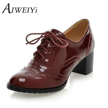 AIWEIYi Lace up Platform Pumps Shoes Oxfords Shoes Women Spring Women Pumps Shoes Soft