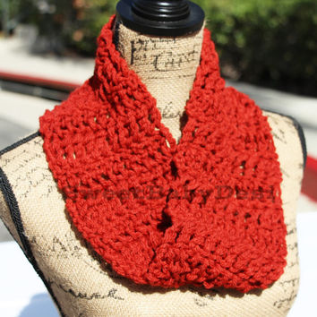 Red Infinity Scarf - Twisted Infinity Scarf - Crochet Chunky Cowl - Wool Scarf - Women's Winter Accessory