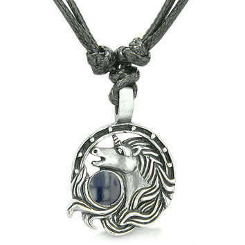 Amulet Lucky Horse Shoe Unicorn Magic Navy Blue Circle Pewter Pendant Necklace