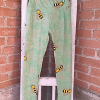 Adult Leggings, One Size Mint Tone on Tone Patter with Bees