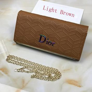 Perfect Dior Women Leather Buckle Wallet Purse Crossbody