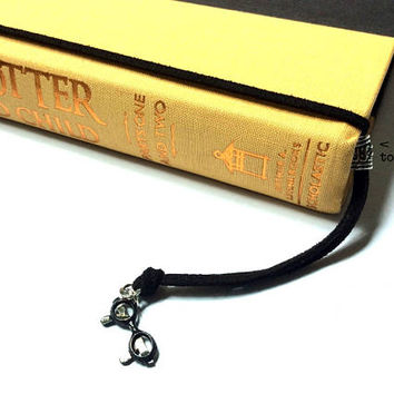 Reading Glasses Bookmark: suede cord with eyeglasses charm (adjustable & no-slip)