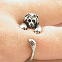 Silver Lion Wrap Hug Ring