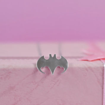 Cute Bat Necklace, Rhodium Plated Brass Pendant, Delicate Chain, Perfect Gift