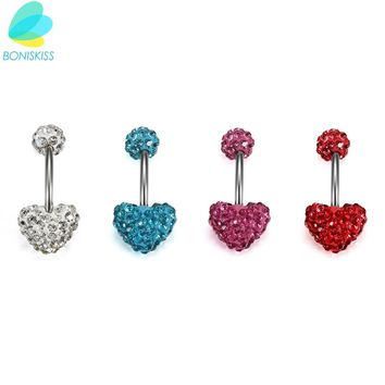 Boniskiss Brand Body Jewelry Crystal Heart Belly Button Rings For Women 4 Color Heart Navel Piercing Nombril New Arrival