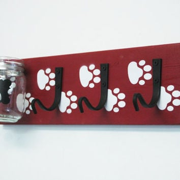 Pet Wall Decor with jar and hooks pet leash organizer pet treat jar