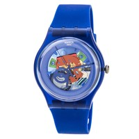 Swatch SUON101 Unisex Indigo Lacquered Blue Plastic Blue Skeleton Dial Watch