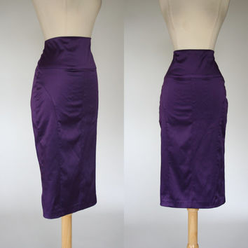 1990's purple wiggle skirt 90's does 50's satin mid calf length body con high waist rockabilly VLV pin up tapered skirt Medium size 8