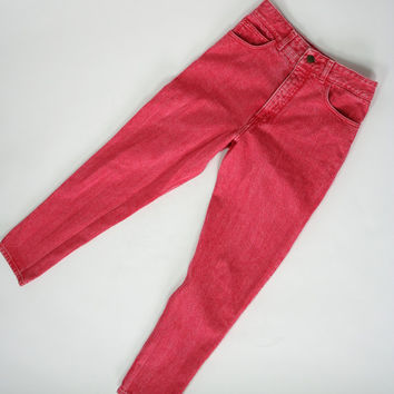 1990's red Guess jeans high waist denim pants faded acid wash red Georges Marciano cotton mom jeans size 28 small size 6