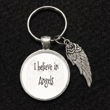 I Believe In Angels Angel Wing Quote Keychain