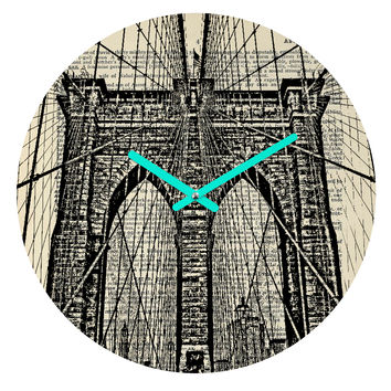 DarkIslandCity Brooklyn Bridge On Dictionary Paper Round Clock