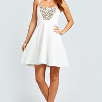 Maya Embellished Sweetheart Neck Skater Dress