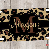 Personalized Leopard License Plate Car Tag Monogrammed License Plate Tag for Car Personalized Leopard License Plate