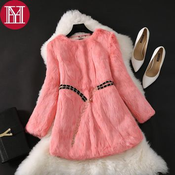 Natural Real Rabbit Fur Long Coat 2017 New Winter Real Rabbit Fur Jacket Korean Female Three Quarter Sleeve Soft Real Fur Coats