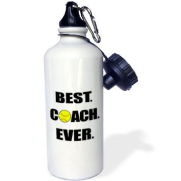 3dRose wb_210629_1 Softball Best Coach Ever Sports Water Bottle, 21 oz, White