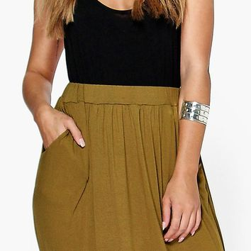 Plus Rae Pocket Front Jersey Maxi Skirt | Boohoo