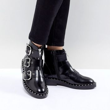 ASOS DESIGN Alena Leather Multi Buckle Ankle Boots at asos.com
