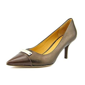 Coach Zan Mat Womens Size 6.5 Brown Leather Pumps Heels Shoes