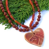 Celtic Horse Heart Handmade Necklace Red Jasper Coral Unique Jewelry