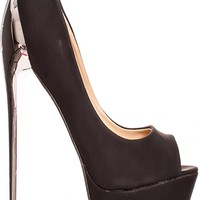BLACK PEEP TOE LOOK POLISHED PLATFORM HIGH HEELS