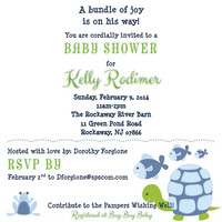 Turtle Invitation, Under the Sea Baby Shower invitation, Blue Stripe, Fish invitation, Turtle Birthday Invitation