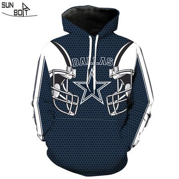 Sunboat 2017 New Hoodies Men Quality Casual Hooded Sweatshirt Pattern 3D Printed Dalla Cowboy Foot ball Team M-6XL Rugbyuniform