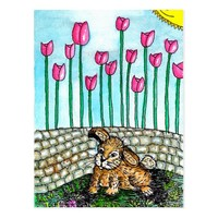 Garden Rabbit With Tulips Postcard