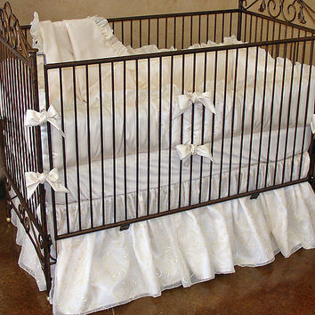 Monaco Crib Bedding | Gold and Ivory Baby Bedding