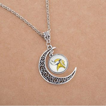 New Arrival Footbal Time Gem Glass Charms Pendant Necklace Sports Team Football Minnesota Vikings Pendant