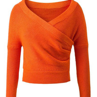 Orange Wrap Front V-neck Cropped Knit Jumper