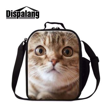 Dispalang Kawaii Cat Dog Pattern Lunchbag For Girl Food Picnic Container With Handle Lunch Storage Portable Insulated Cooler Bag