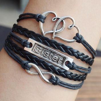 Sister bracelets, infinity heart to heart Charm Bracelet, Full Black waxed cord Braid leather Bracelet, Best Gift Jewelry Online Buy