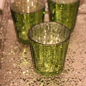 Sale Set of 10 MERCURY GLASS GREEN Speckled Glass Candle Holders Votive Holder Candleholder Tea Light Vase Vintage Christmas Wedding