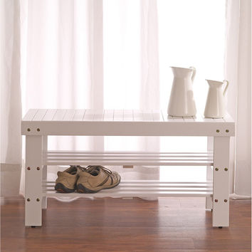White Solid Wood Storage Shoe Bench and Shelf | Overstock.com Shopping - The Best Deals on Benches