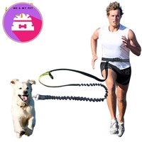 Elastic Waist Dog Leash For Jogging Walking Pet Dog Product Adjustable Nylon Dog Leash With Reflective Strip Pet Accessories