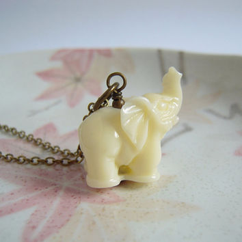 Elephant Necklace, Ivory Color Elephant Brass Necklace