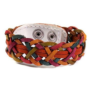 Akitai Earthy Braided Genuine Leather Bracelet Bohemian Gypsy Womens Handmade Jewelry Summer Ideas