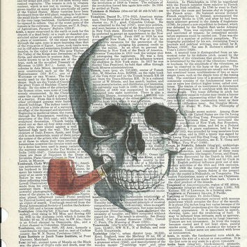 Book Print Mr.Skull Smoke a Pipe on Upcycle Book Page Print Art Print Dictionary Print Collage Print