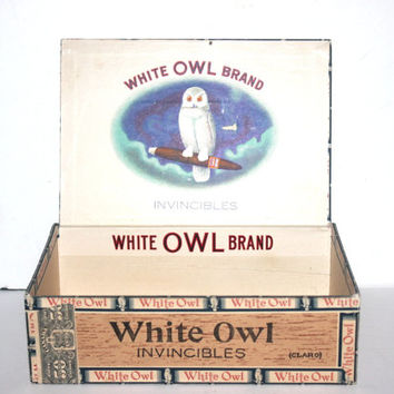 Vintage White Owl  Cigar Box, Tobacco, Antique Alchemy
