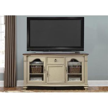 Liberty Furniture Tiffany TV Console in Cherry & Taupe Finish